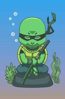 Cartoon illustrazione tartaruga ninja sott'acqua