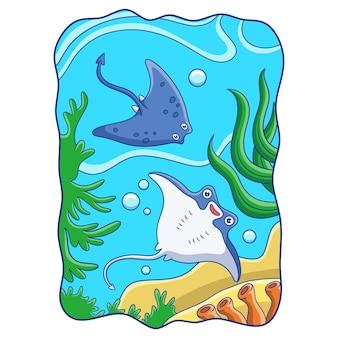 Cartoon illustrazione due razze che nuotano nella barriera corallina
