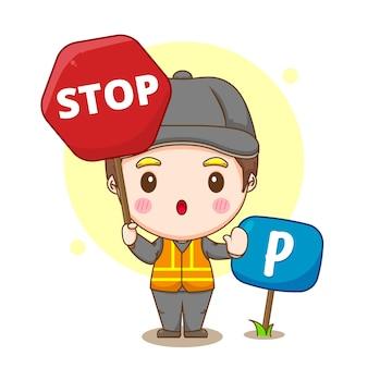 Fumetto illustrazione del servizio di parcheggio con parcheggiatore con segnale di stop