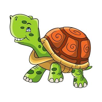 Tartaruga che cammina con illustrazione del fumetto