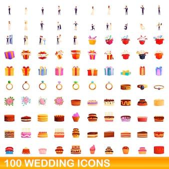 Illustrazione del fumetto delle icone di nozze insieme isolato su priorità bassa bianca