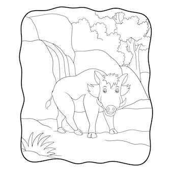 Cinghiale dell'illustrazione del fumetto che cammina nel libro o nella pagina della foresta per i bambini in bianco e nero