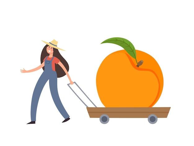 Illustrazione del fumetto con la donna minuscola in cappello di paglia che tiene il carretto con la pesca isolata su bianco.