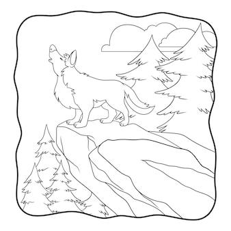 Lupo dell'illustrazione del fumetto che cammina nella foresta libro da colorare o pagina per i bambini in bianco e nero