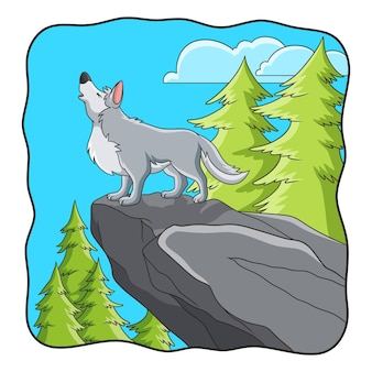 Lupo dell'illustrazione del fumetto che cammina nella foresta