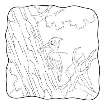 Il picchio dell'illustrazione del fumetto becca un grande libro o una pagina del tronco d'albero per i bambini in bianco e nero