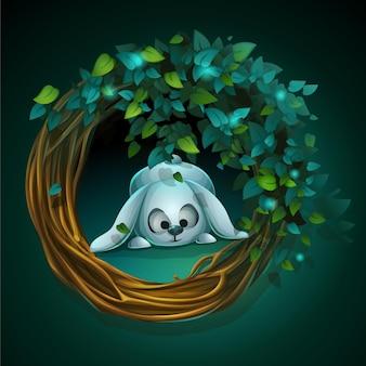 Ghirlanda di illustrazione del fumetto e foglie con un coniglio su uno sfondo verde