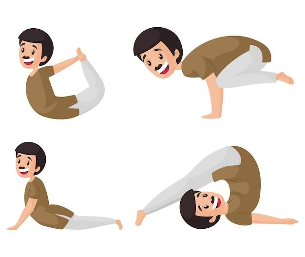 Illustrazione del fumetto del set di caratteri dell'uomo di yoga