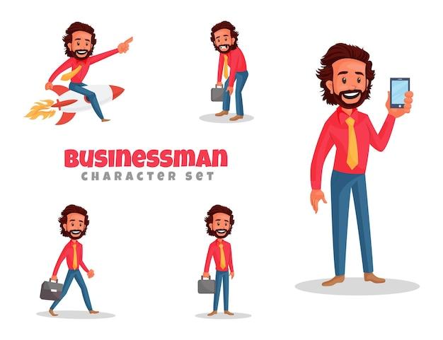 Fumetto illustrazione del set di caratteri del giovane uomo d'affari