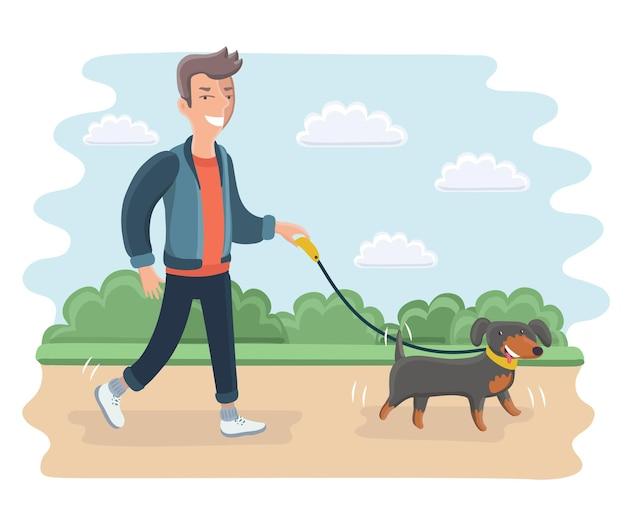 Cartoon illustrazione del giovane uomo che cammina cane all'aperto nel parco