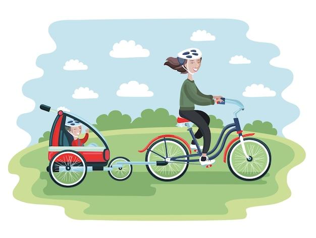Fumetto illustrazione della giovane donna in sella a una bicicletta con il suo bambino carino in rimorchi per bici per bambini