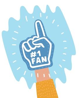 Illustrazione del fumetto della mano della schiuma del ventilatore di colore con il dito alto