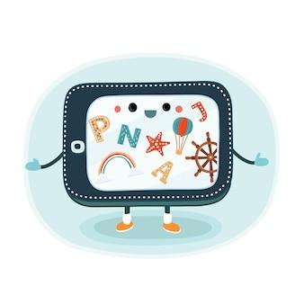Immagine del fumetto di uno smartphone nero con una schermata blu