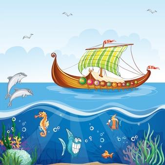 Immagine del fumetto del mondo acquatico con navi mercantili viking s.vi