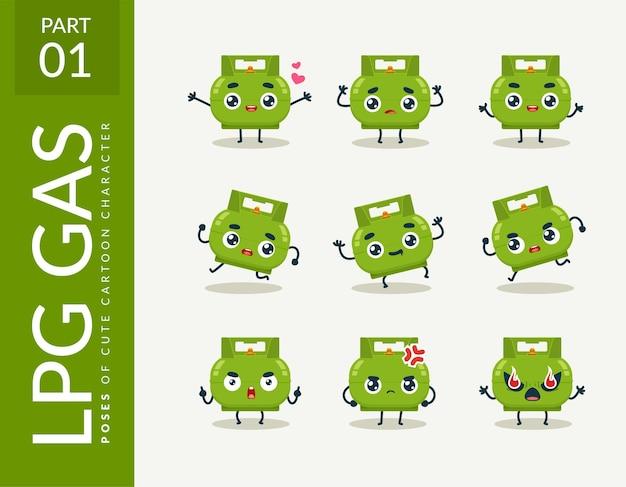 Immagini cartone animato della bombola di gpl. impostato.