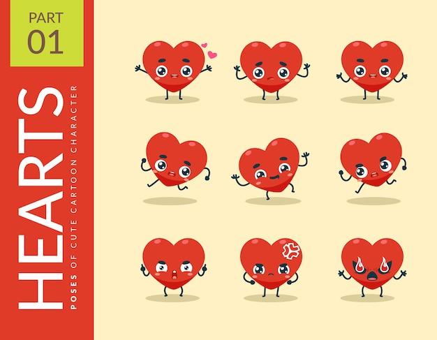 Immagini del fumetto del cuore rosso. impostato.