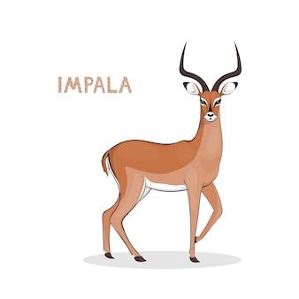 Un impala di cartone animato con lunghe corna Vettore Premium
