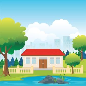 Cartoon illustrazione scuola indonesiana con cortile verde