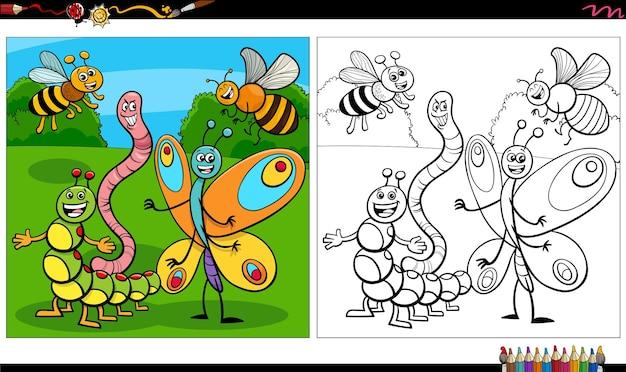Pagina del libro da colorare del gruppo di personaggi degli insetti dei cartoni animati