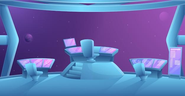 Interno del fumetto di un'astronave del futuro con il posto e l'attrezzatura di capitano, illustrazione