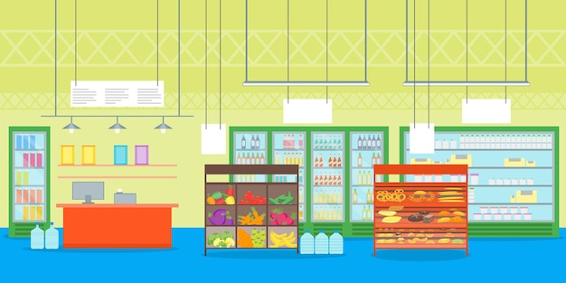 Cartone animato interno supermercato o negozio con set di scaffali del negozio di mobili ed elementi di design in stile piatto registratore di cassa.
