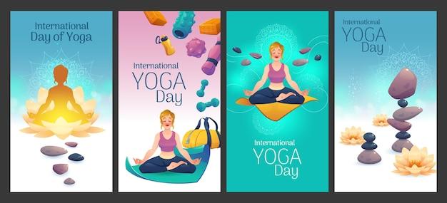 Giornata internazionale del fumetto di banner di yoga impostati