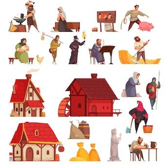 Cartone animato e set medievale isolato con case, taverne, abitanti del villaggio, fabbro e carnefice