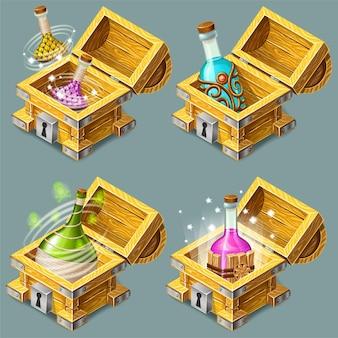 Cassapanche isometriche dei cartoni animati con elisir