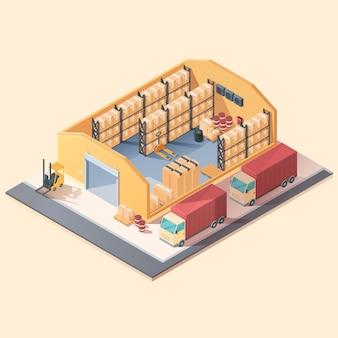 Magazzino isometrico del fumetto con scatole ed elettrodomestici, illustrazione vettoriale