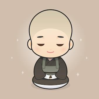 Sacerdoti buddisti giapponesi del fumetto illustrazione vettoriale nel design del personaggio dei cartoni animati