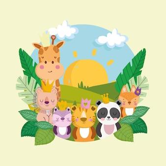 Animali della giungla dei cartoni animati