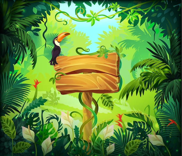 Priorità bassa della giungla del fumetto. cornice naturale della foresta tropicale, schermo di gioco con pannello in legno e foglie esotiche verdi. cartello marrone in legno con illustrazioni vettoriali su sfondo magico selvaggio