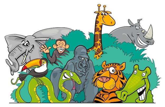 Personaggi di animali selvatici della giungla del fumetto