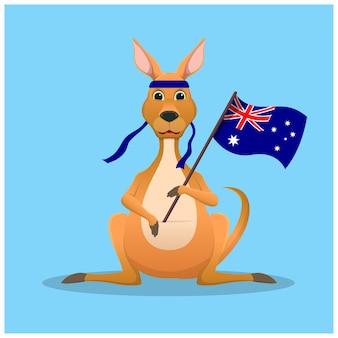 Canguro del fumetto che tiene una bandiera australiana Vettore Premium
