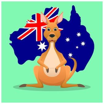 Disegno della mascotte del canguro del fumetto con il fondo dell'isola dell'australia
