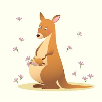 Canguro cartone animato con il suo piccolo canguro bambino carino su sfondo giallo.
