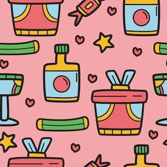 Cartoon kawaii doodle pattern design
