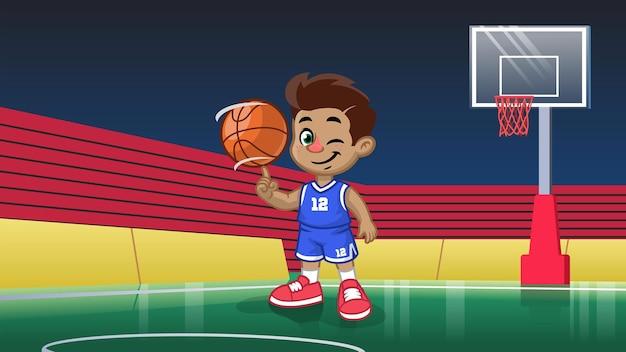 Giocatore di basket bambino cartone animato nello stadio