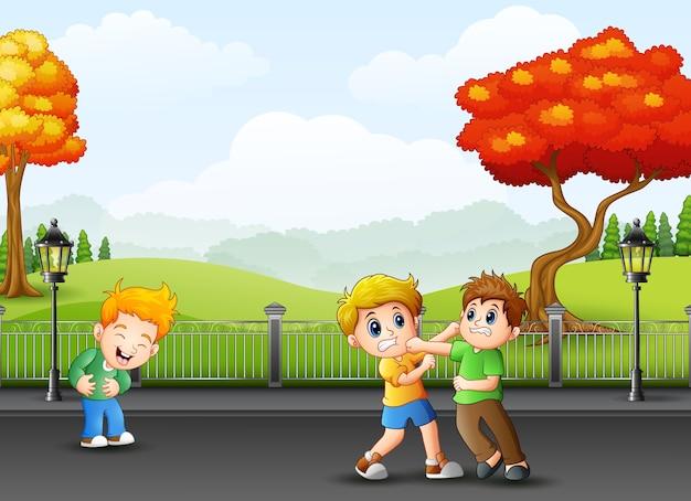 Ragazzi di cartone animato combattendo per la strada
