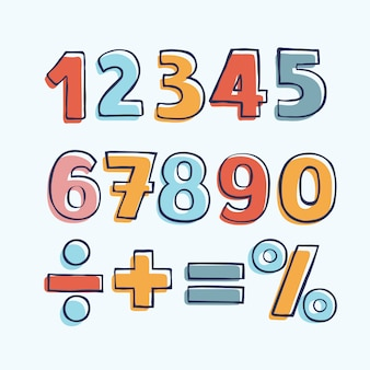 Figure di cartoni animati per bambini. set di numeri di colore