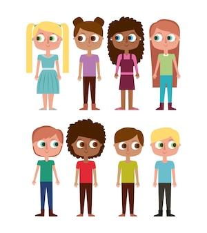 Cartoon bambini felici ragazze e ragazzi felici