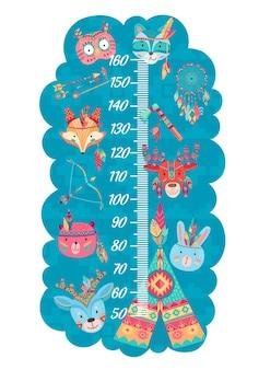 Grafico dell'altezza dei bambini dei cartoni animati con divertenti gufi, lupi e volpi, alci, conigli, orsi e cervi indiani. misuratore da parete della misura della crescita con scala del righello e animali nativi americani, piume, frecce o tepee