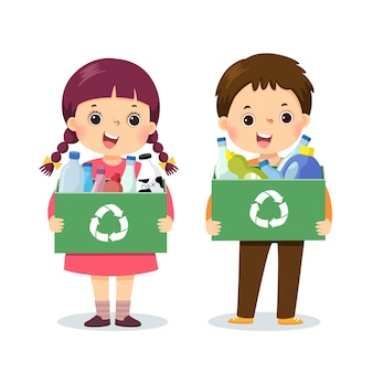Cartone animato di bambini che tengono contenitori con bottiglie di plastica. concetto di ambiente.