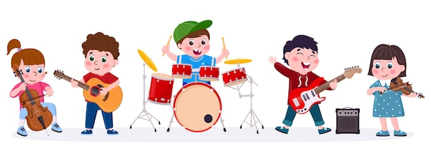 Banda musicale per bambini dei cartoni animati che suona strumenti musicali. i bambini cantano, suonano la chitarra, la batteria e il set di illustrazioni vettoriali per violino. orchestra per bambini