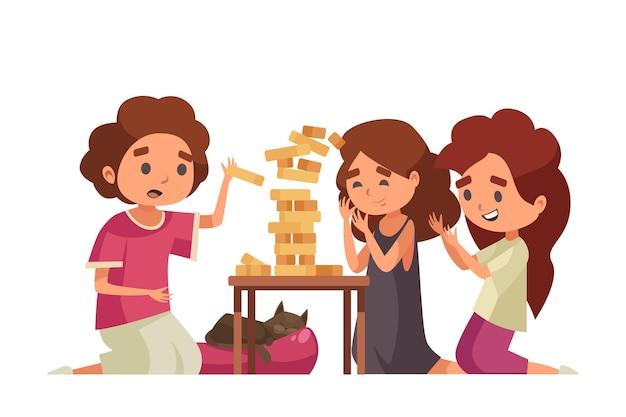 Bambini dei cartoni animati che giocano a jenga