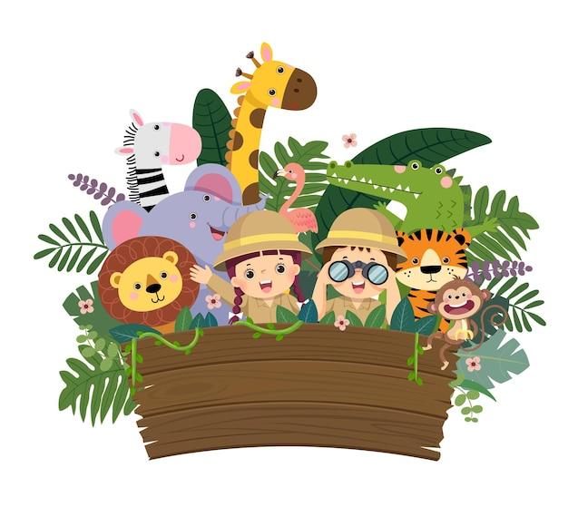 Cartone animato di bambini e animali selvatici con cartello in legno vuoto.