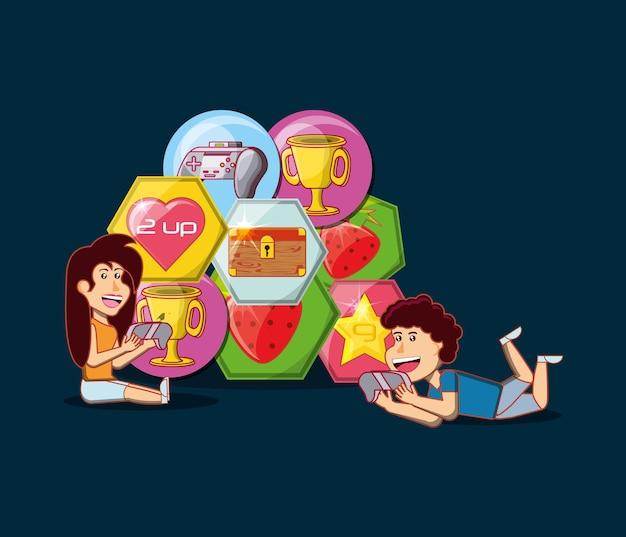 I bambini del fumetto con le icone relative dei video giochi sopra fondo nero