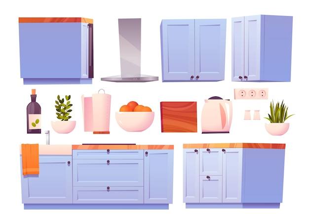 Illustrazione della collezione di mobili da cucina dei cartoni animati