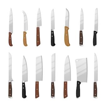 Coltelli da cucina del fumetto. insieme isolato del coltello del disegno del cuoco del cuoco unico, illustrazione degli strumenti dei coltelli del macellaio isolata su bianco