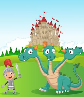 Cavaliere di cartone animato con drago a tre teste